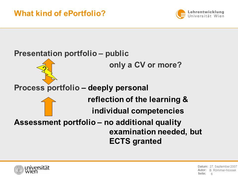 B. Römmer-Nossek 6 Datum: Autor: Seite; 27. September 2007 What kind of ePortfolio? Presentation portfolio – public only a CV or more? Process portfol