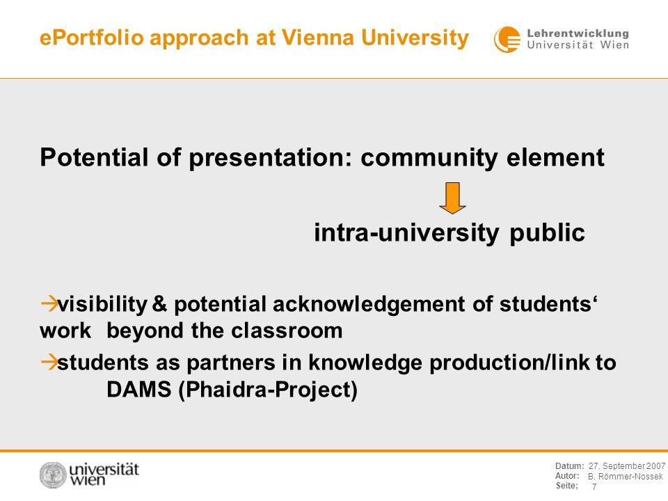 B. Römmer-Nossek 7 Datum: Autor: Seite; 27. September 2007 ePortfolio approach at Vienna University Potential of presentation: community element intra