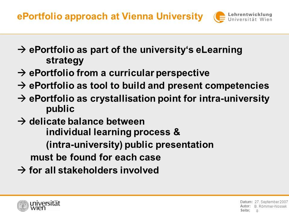 B. Römmer-Nossek 8 Datum: Autor: Seite; 27. September 2007 ePortfolio approach at Vienna University ePortfolio as part of the universitys eLearning st