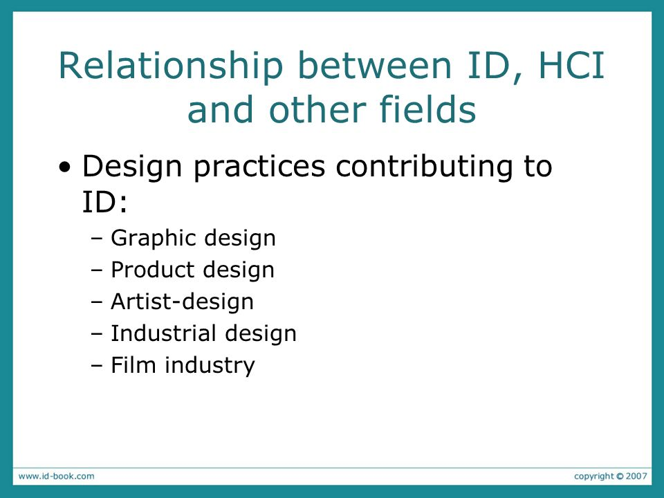 Relationship between ID, HCI and other fields Design practices contributing to ID: –Graphic design –Product design –Artist-design –Industrial design –
