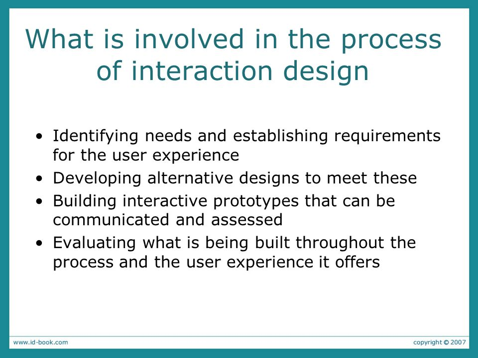 What is involved in the process of interaction design Identifying needs and establishing requirements for the user experience Developing alternative d