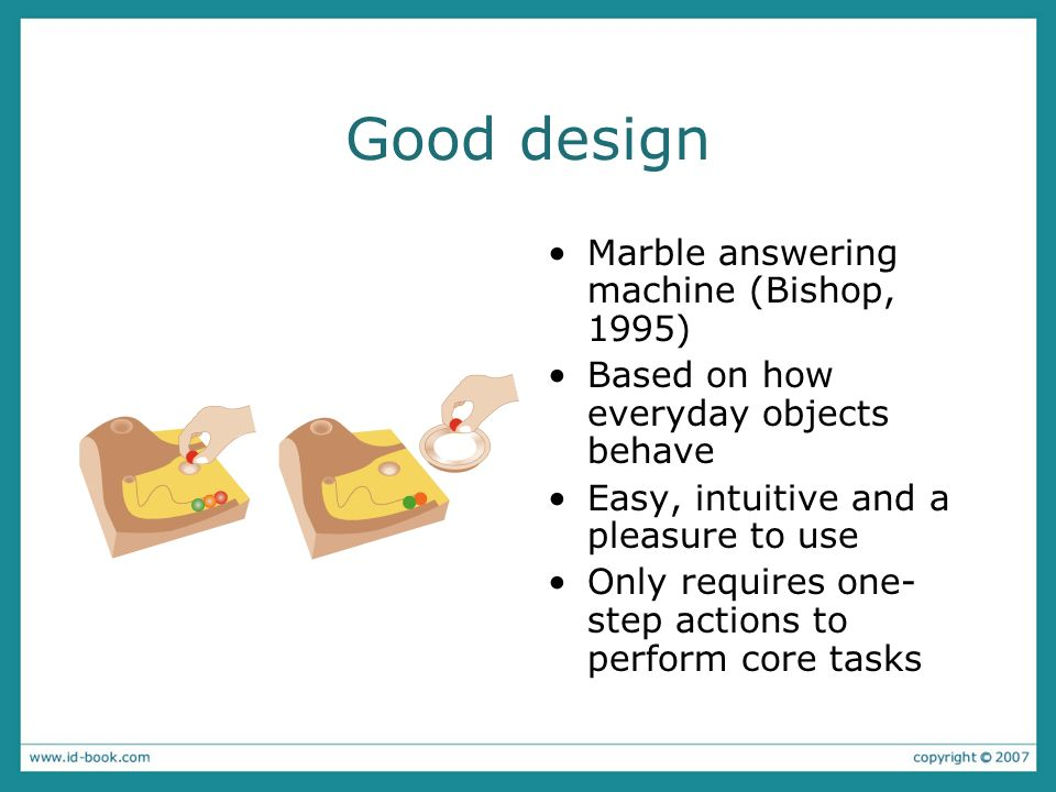 Good design Marble answering machine (Bishop, 1995) Based on how everyday objects behave Easy, intuitive and a pleasure to use Only requires one- step
