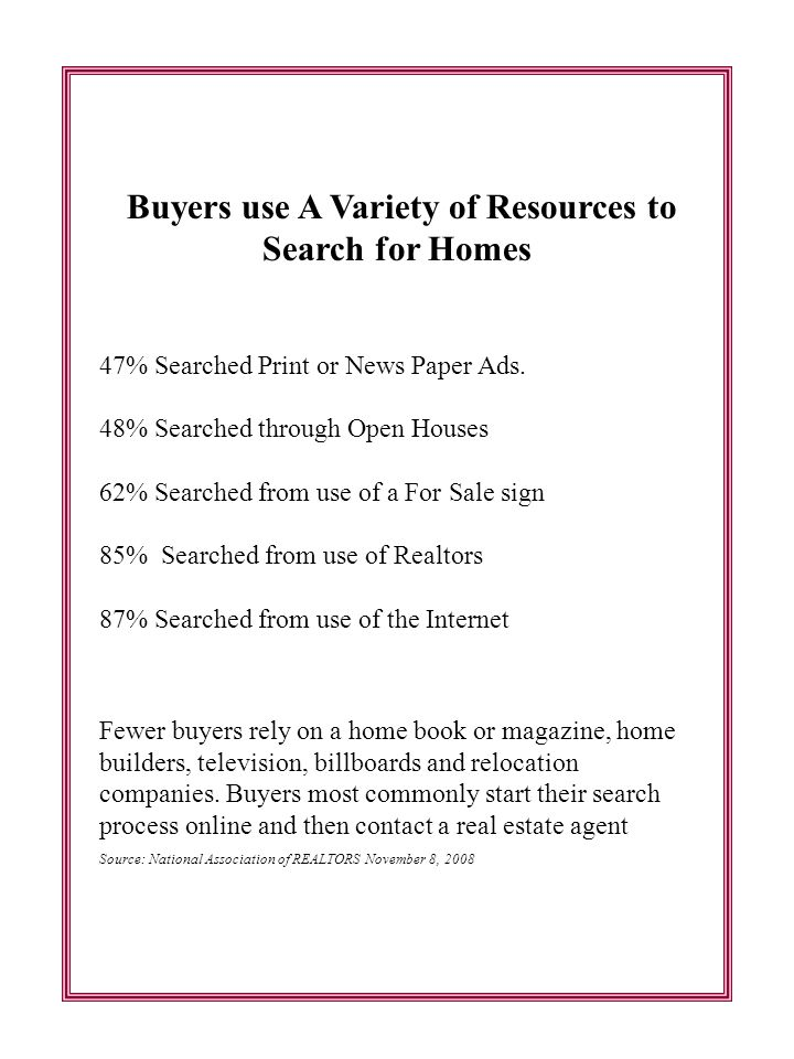 Buyers use A Variety of Resources to Search for Homes 47% Searched Print or News Paper Ads.