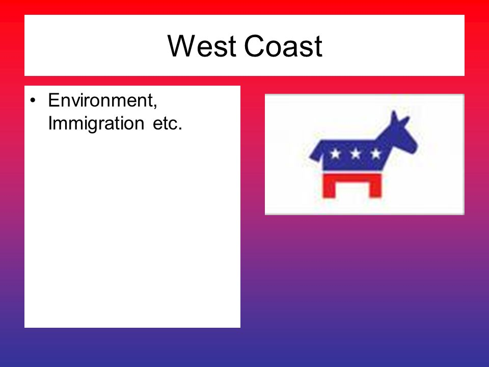 West Coast Environment, Immigration etc.