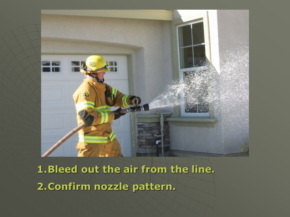 1.Bleed out the air from the line. 2.Confirm nozzle pattern.