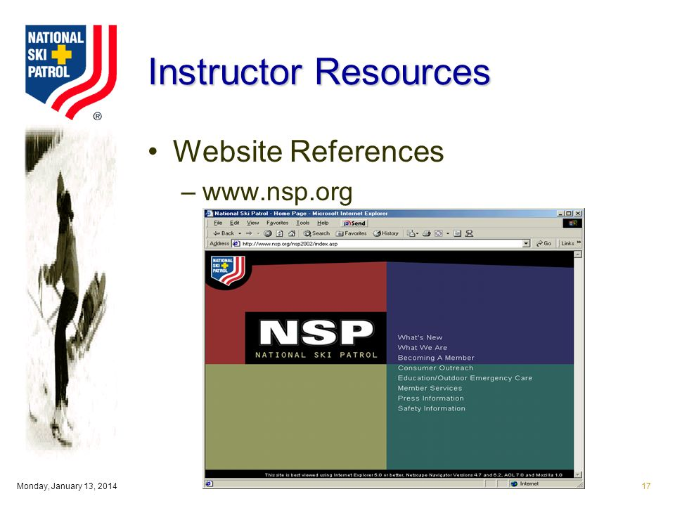 Monday, January 13, Instructor Resources Website References –