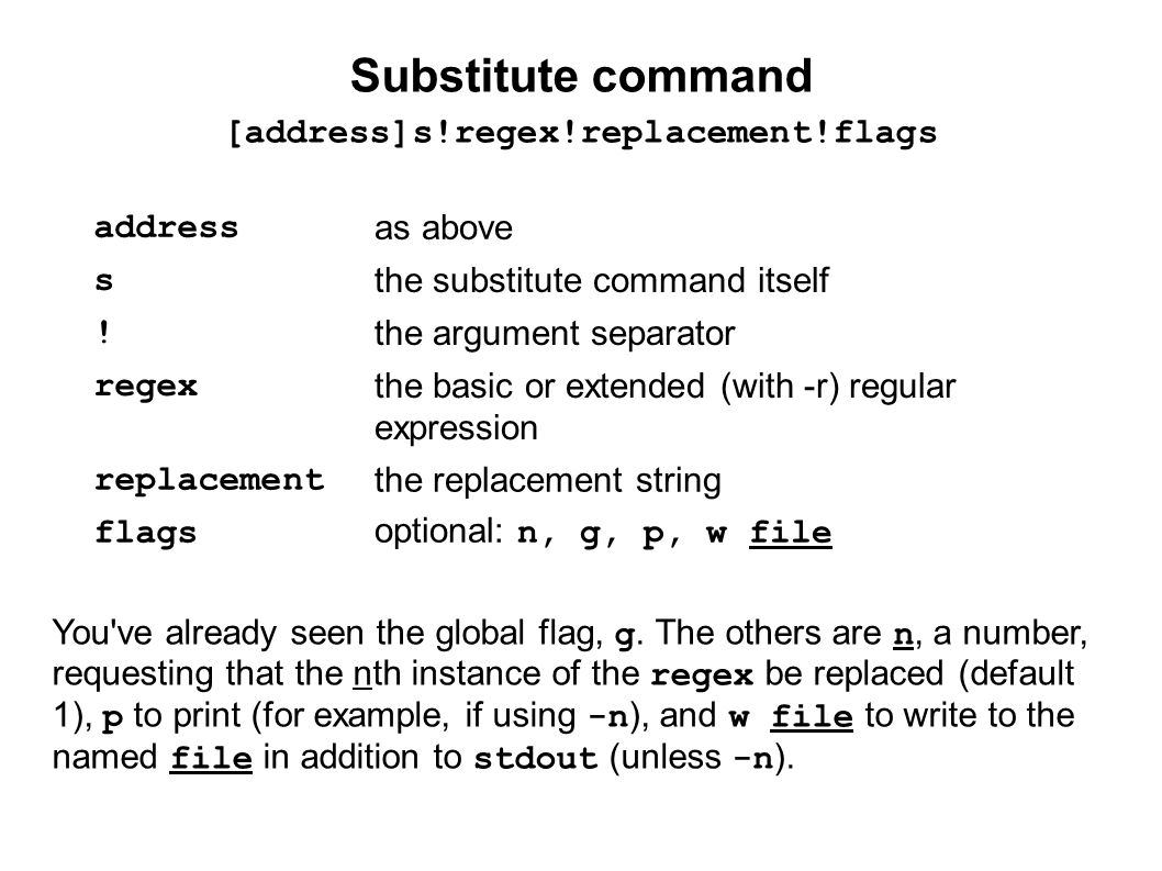 Substitute regex and replacement The regex is the same as grep.