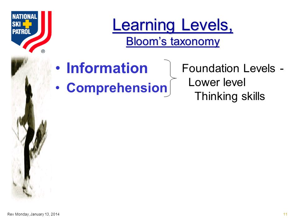 Rev Monday, January 13, 201411 Learning Levels, Blooms taxonomy Information Comprehension Foundation Levels - Lower level Thinking skills