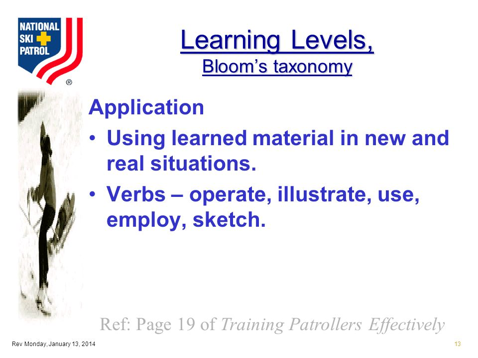 Rev Monday, January 13, 201413 Learning Levels, Blooms taxonomy Application Using learned material in new and real situations.