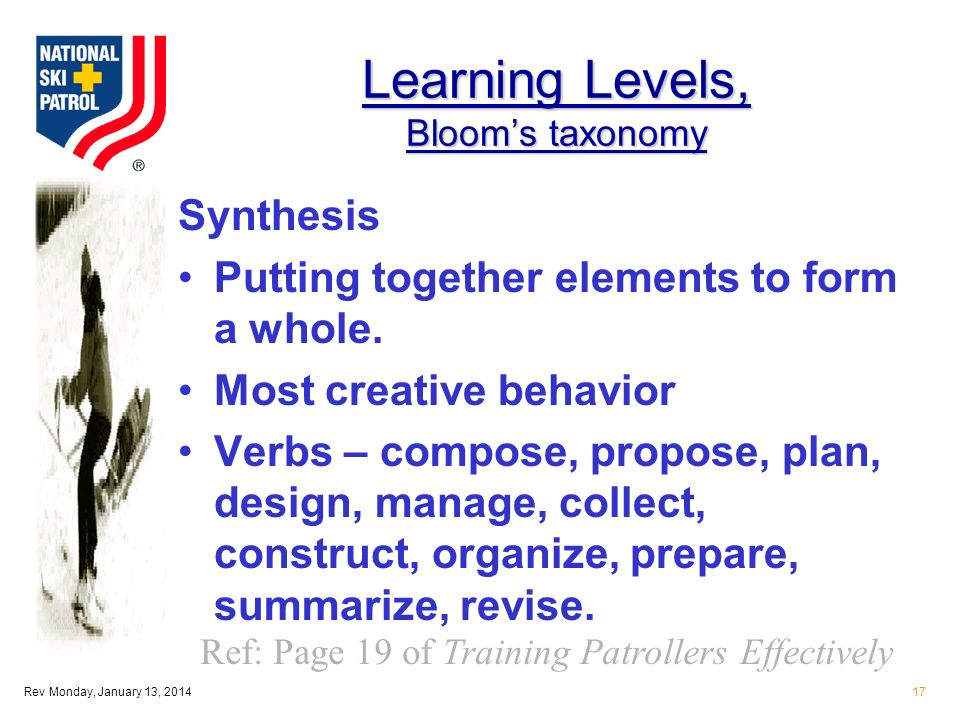 Rev Monday, January 13, 201417 Learning Levels, Blooms taxonomy Synthesis Putting together elements to form a whole.