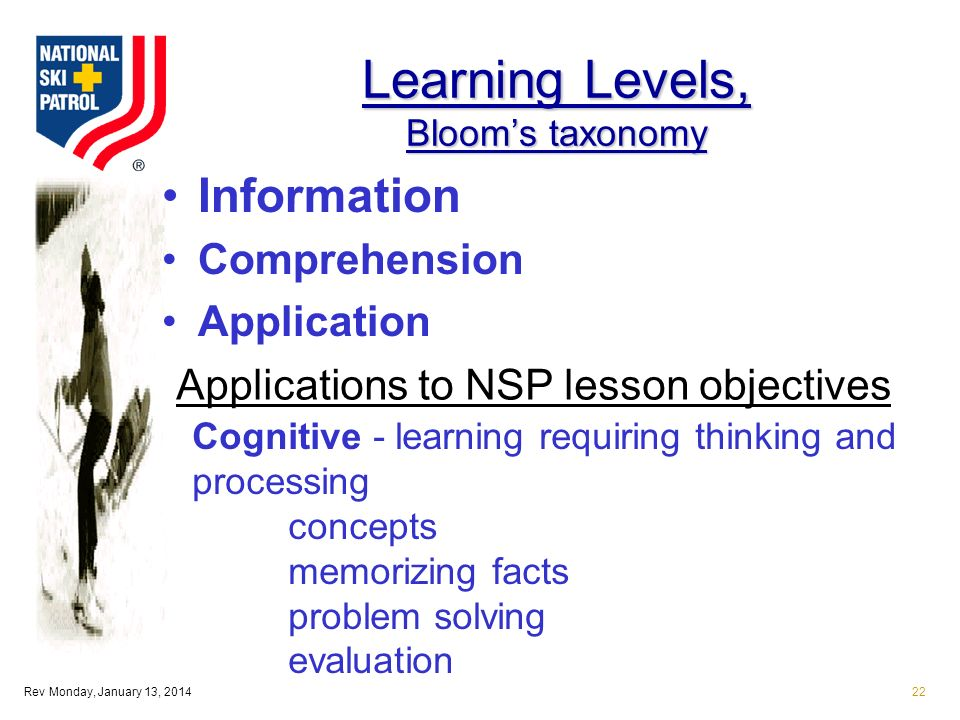Rev Monday, January 13, 201422 Learning Levels, Blooms taxonomy Information Comprehension Application Applications to NSP lesson objectives Cognitive - learning requiring thinking and processing concepts memorizing facts problem solving evaluation