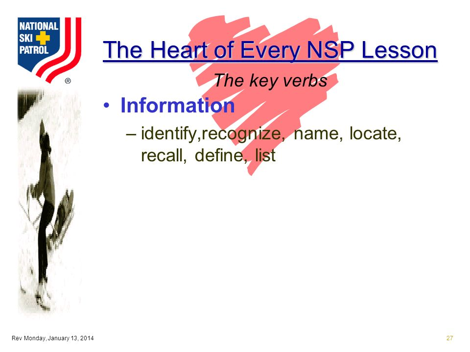 Rev Monday, January 13, 201427 The Heart of Every NSP Lesson Information –identify,recognize, name, locate, recall, define, list The key verbs