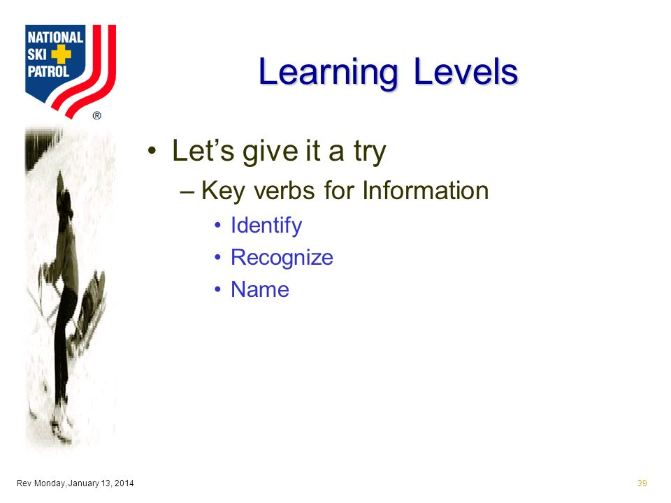 Rev Monday, January 13, 201439 Learning Levels Lets give it a try –Key verbs for Information Identify Recognize Name