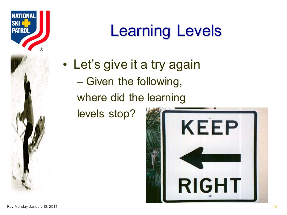 Rev Monday, January 13, 201445 Learning Levels Lets give it a try again –Given the following, where did the learning levels stop
