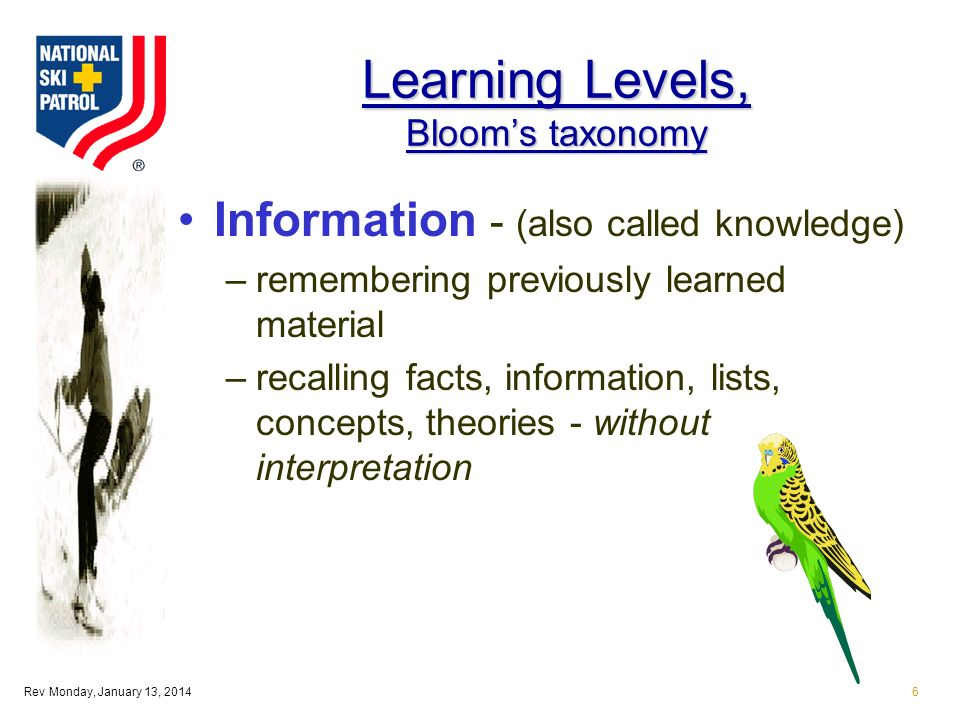 Rev Monday, January 13, 20146 Learning Levels, Blooms taxonomy Information - (also called knowledge) –remembering previously learned material –recalling facts, information, lists, concepts, theories - without interpretation