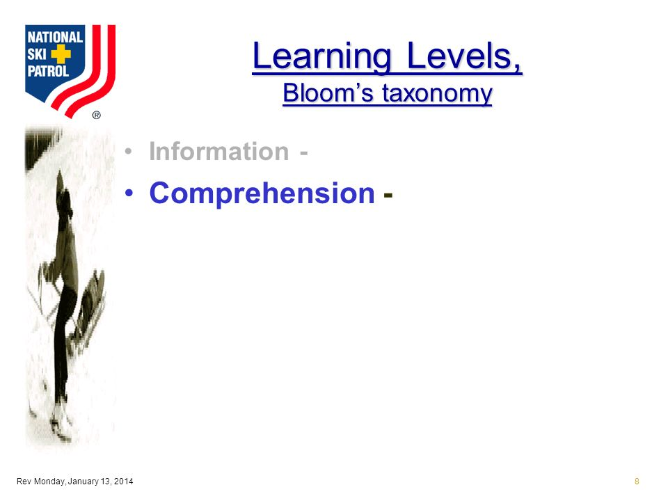 Rev Monday, January 13, 20148 Learning Levels, Blooms taxonomy Information - Comprehension -