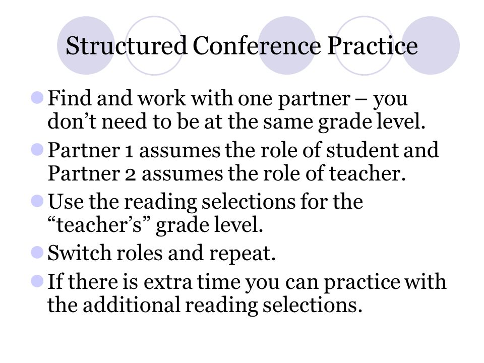 Structured Conference Practice Find and work with one partner – you dont need to be at the same grade level. Partner 1 assumes the role of student and