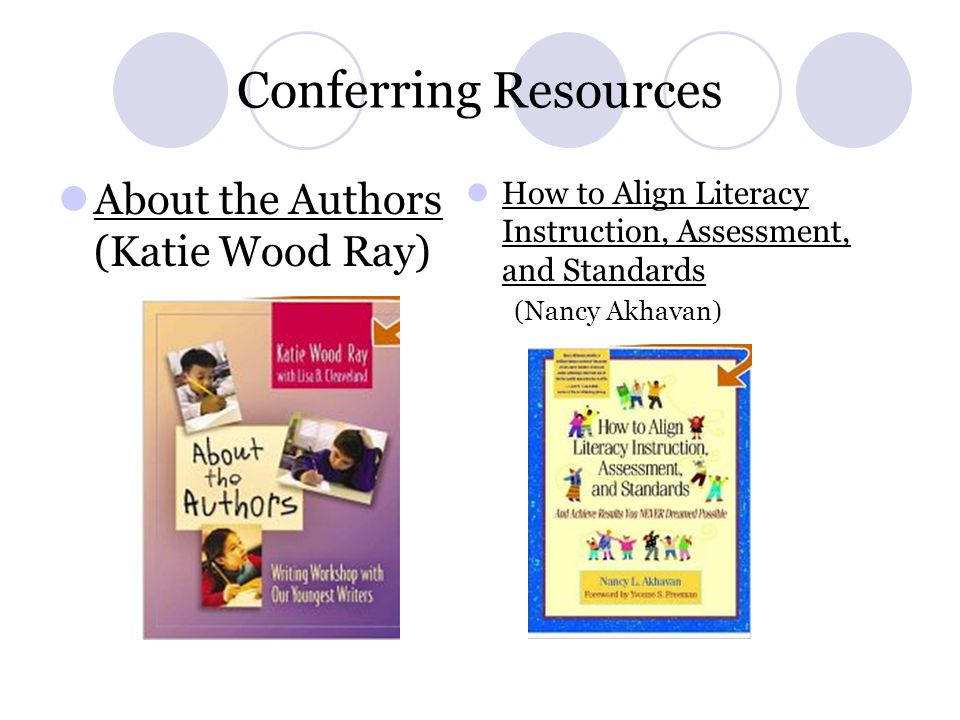 Conferring Resources About the Authors (Katie Wood Ray) How to Align Literacy Instruction, Assessment, and Standards (Nancy Akhavan)