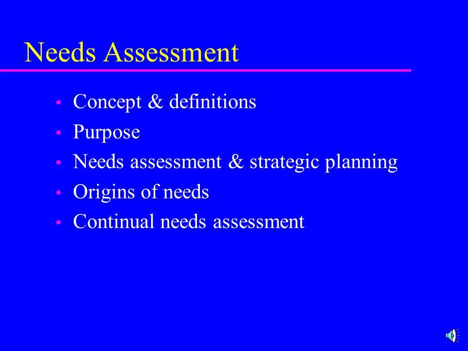 Needs Assessment Concept & definitions Purpose Needs assessment & strategic planning Origins of needs Continual needs assessment