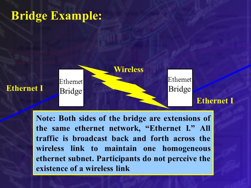 Bridge Example: Wireless Ethernet I Ethernet Bridge Note: Both sides of the bridge are extensions of the same ethernet network, Ethernet I. All traffi