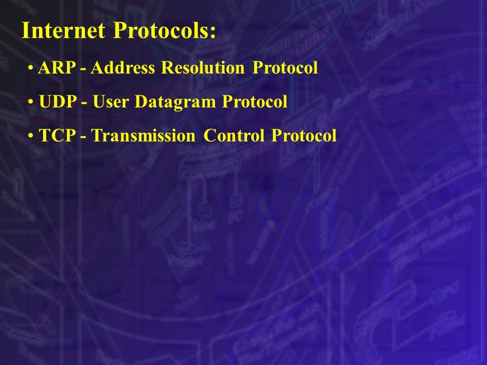 Internet Protocols: ARP - Address Resolution Protocol UDP - User Datagram Protocol TCP - Transmission Control Protocol