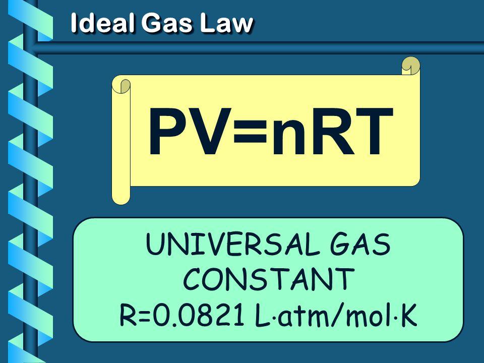 Ideal Gas Law UNIVERSAL GAS CONSTANT R=0.0821 L atm/mol K PV=nRT