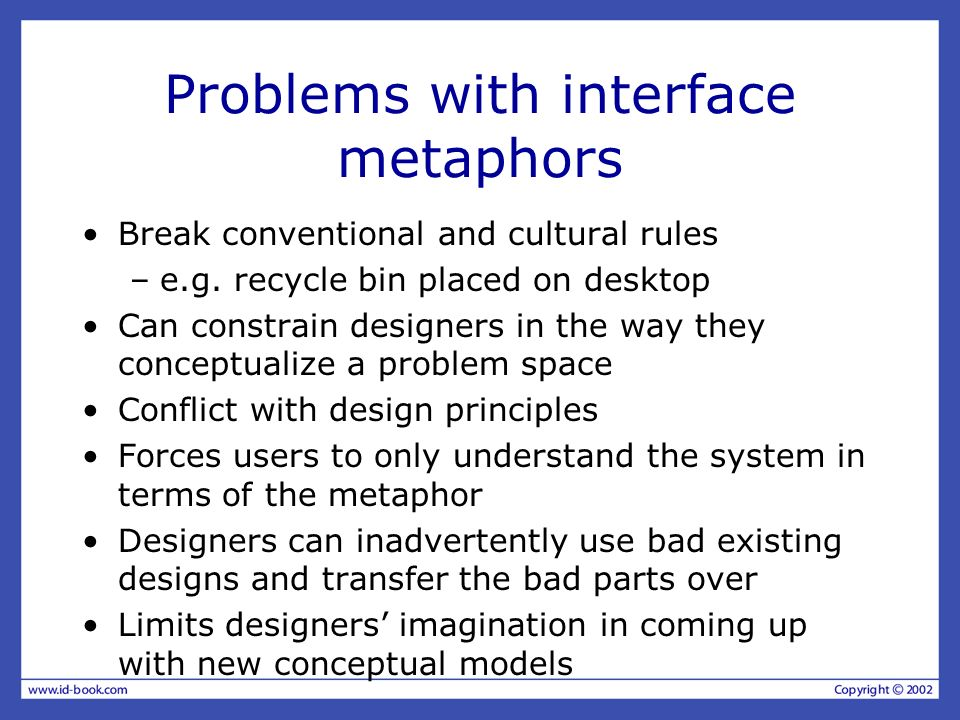 Problems with interface metaphors Break conventional and cultural rules –e.g.