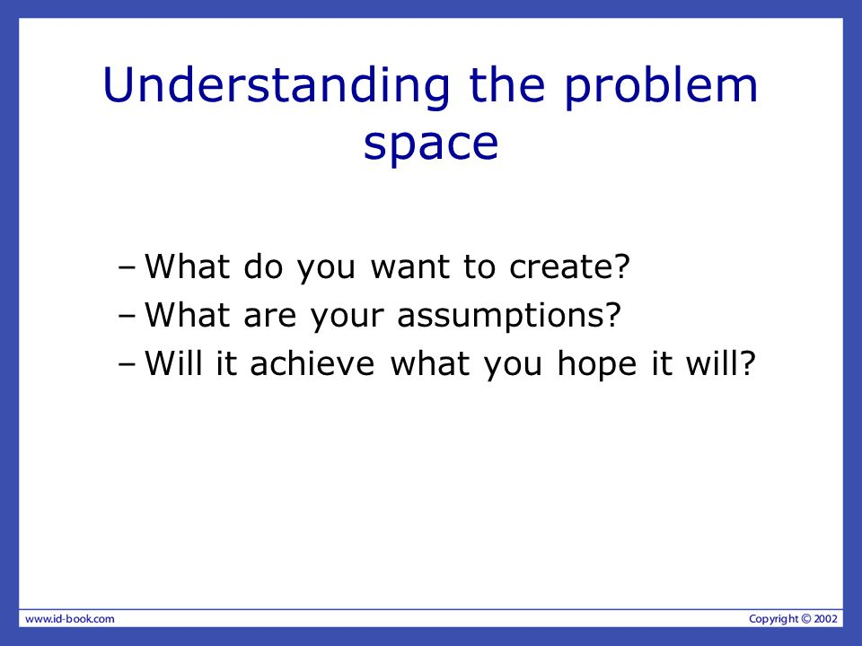 Understanding the problem space –What do you want to create.