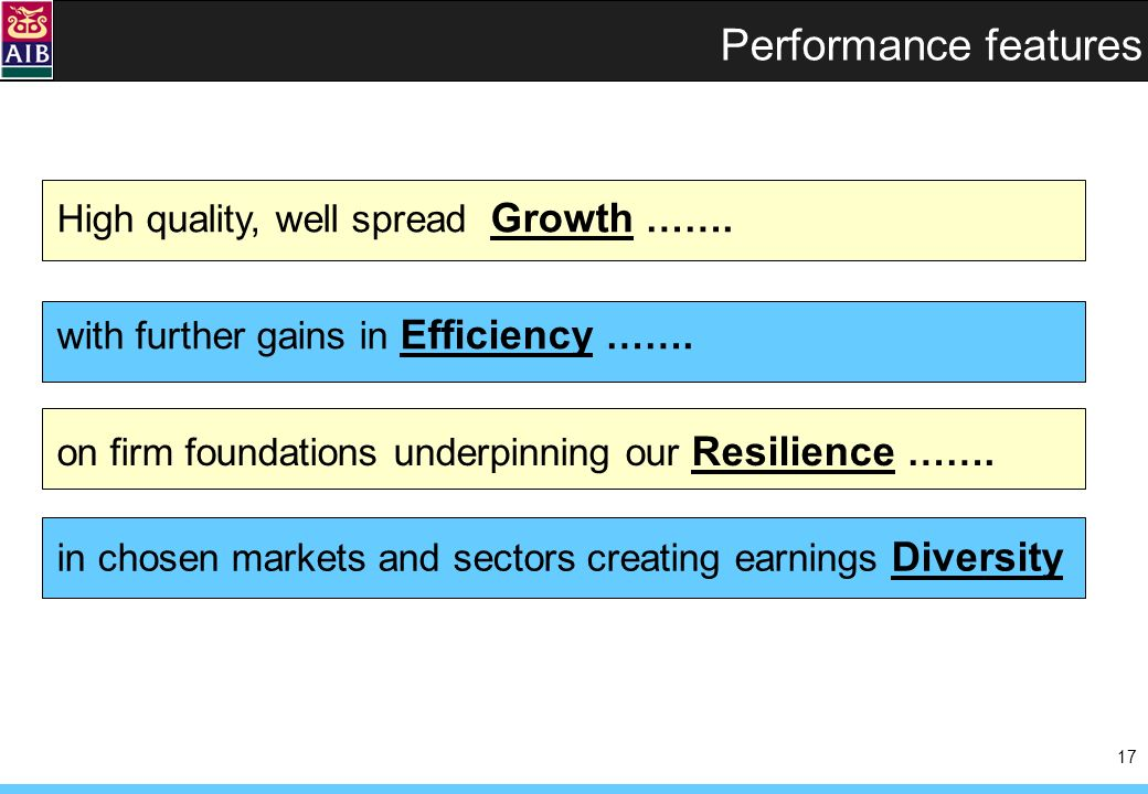 17 Performance features High quality, well spread Growth …….