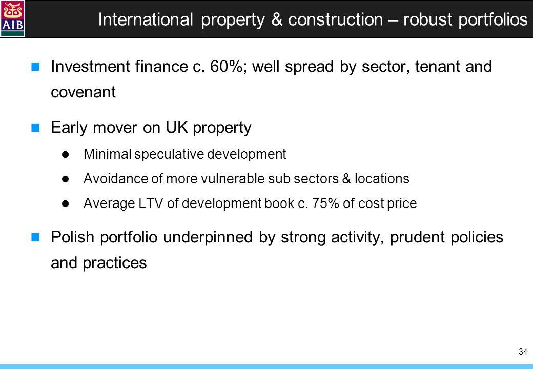 34 International property & construction – robust portfolios Investment finance c.