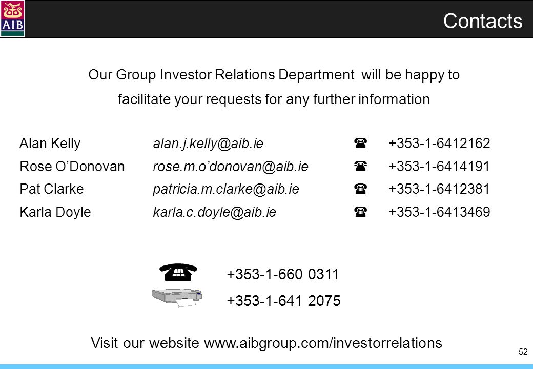 52 Contacts +353-1-660 0311 +353-1-641 2075 Alan Kellyalan.j.kelly@aib.ie +353-1-6412162 Rose ODonovanrose.m.odonovan@aib.ie +353-1-6414191 Pat Clarkepatricia.m.clarke@aib.ie +353-1-6412381 Karla Doylekarla.c.doyle@aib.ie +353-1-6413469 Our Group Investor Relations Department will be happy to facilitate your requests for any further information Visit our website www.aibgroup.com/investorrelations