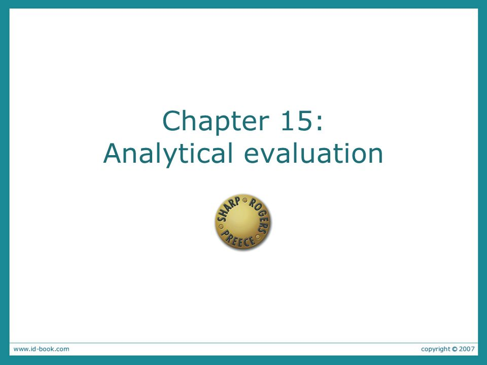 Chapter 15: Analytical evaluation
