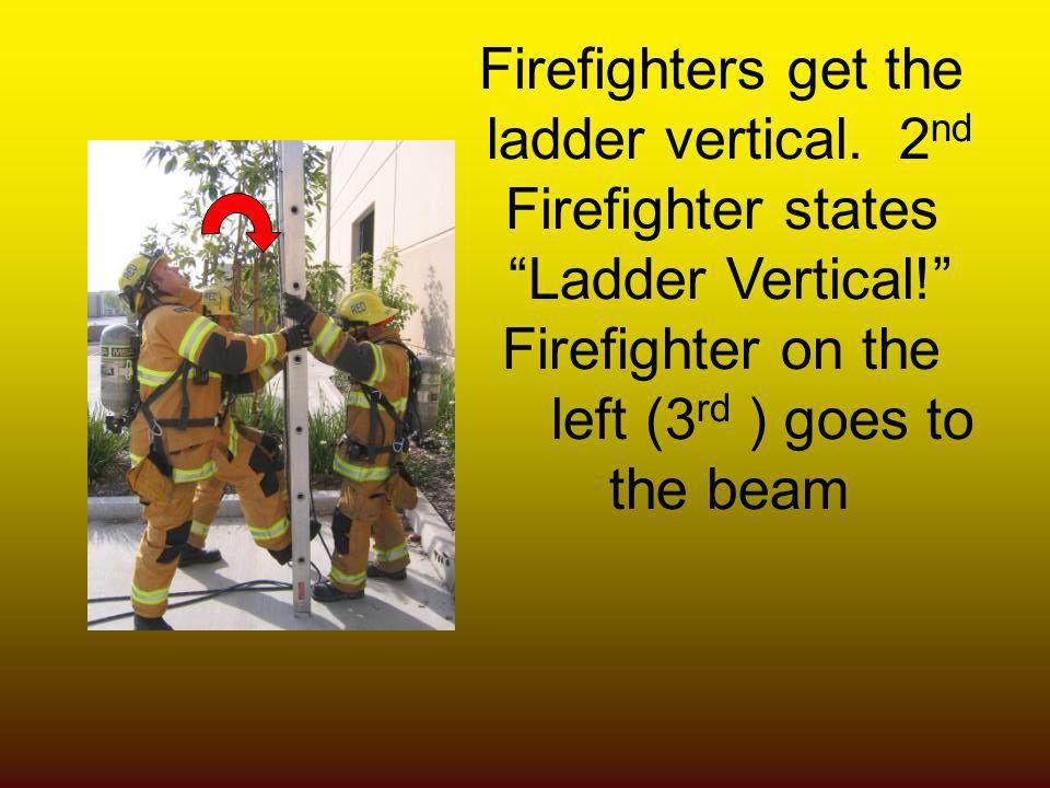 Firefighters get the ladder vertical. 2 nd Firefighter states Ladder Vertical! Firefighter on the left (3 rd ) goes to the beam