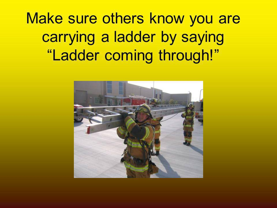 Make sure others know you are carrying a ladder by saying Ladder coming through!