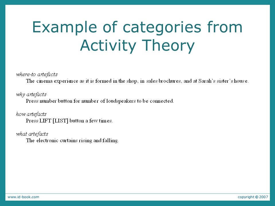 Example of categories from Activity Theory