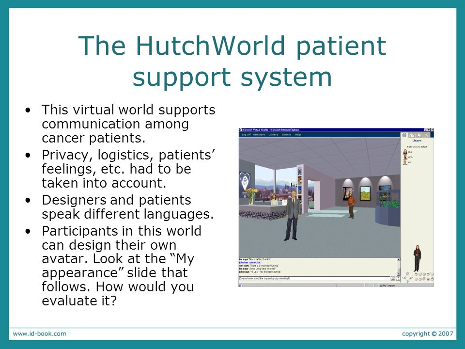 The HutchWorld patient support system This virtual world supports communication among cancer patients.