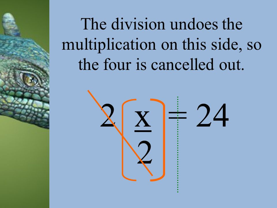 x = 24 2 2 The division undoes the multiplication on this side, so the four is cancelled out.