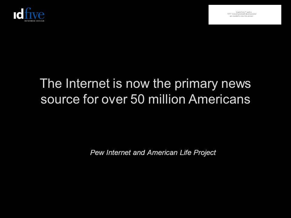 The Internet is now the primary news source for over 50 million Americans Pew Internet and American Life Project