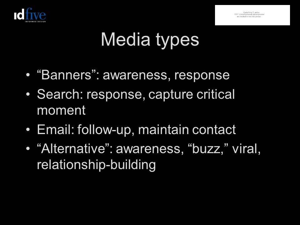 Media types Banners: awareness, response Search: response, capture critical moment Email: follow-up, maintain contact Alternative: awareness, buzz, viral, relationship-building