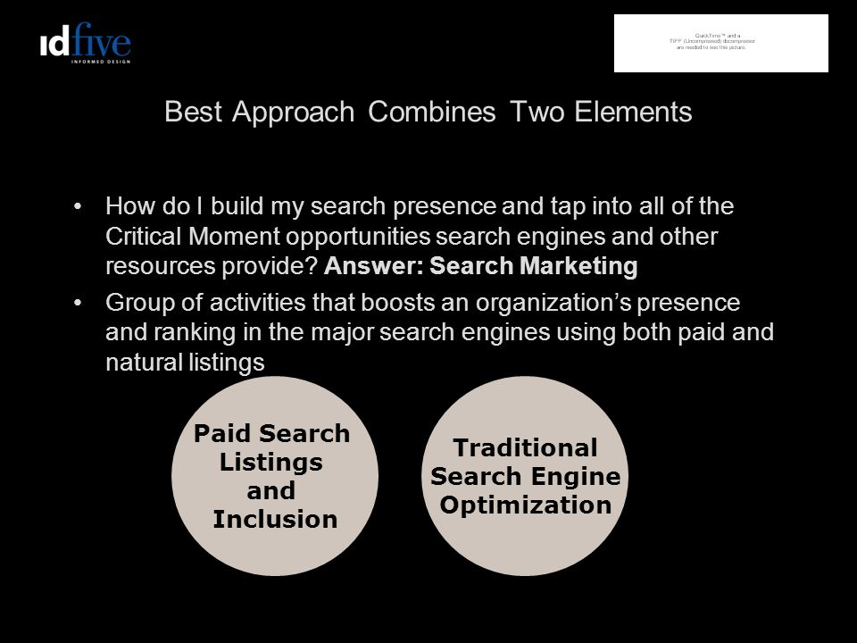 Best Approach Combines Two Elements How do I build my search presence and tap into all of the Critical Moment opportunities search engines and other resources provide.