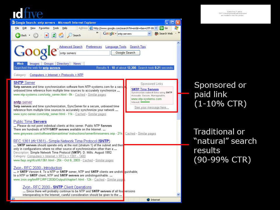Sponsored or paid link (1-10% CTR) Traditional or natural search results (90-99% CTR)