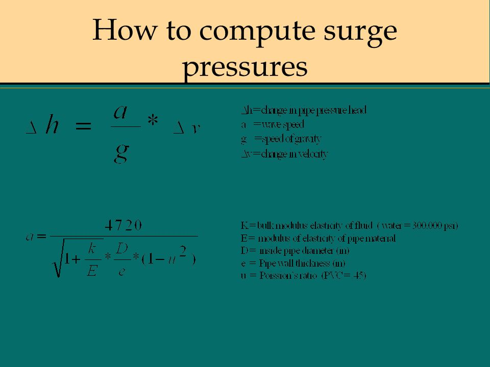 How to compute surge pressures