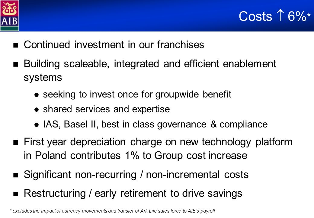 Costs 6% * Continued investment in our franchises Building scaleable, integrated and efficient enablement systems seeking to invest once for groupwide