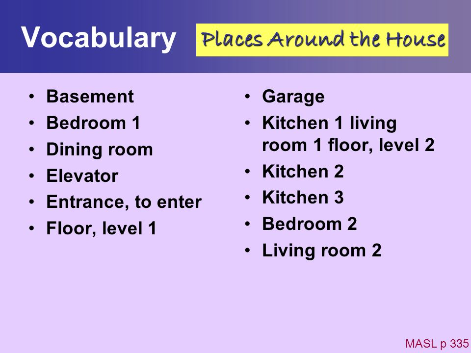 Vocabulary Basement Bedroom 1 Dining room Elevator Entrance, to enter Floor, level 1 Garage Kitchen 1 living room 1 floor, level 2 Kitchen 2 Kitchen 3