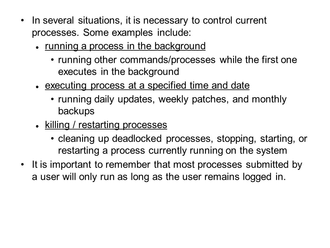In several situations, it is necessary to control current processes.