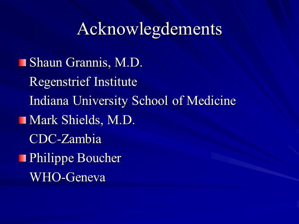 Acknowlegdements Shaun Grannis, M.D. Regenstrief Institute Indiana University School of Medicine Mark Shields, M.D. CDC-Zambia Philippe Boucher WHO-Ge