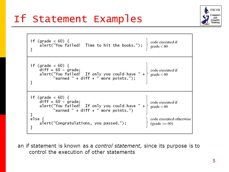 5 If Statement Examples an if statement is known as a control statement, since its purpose is to control the execution of other statements