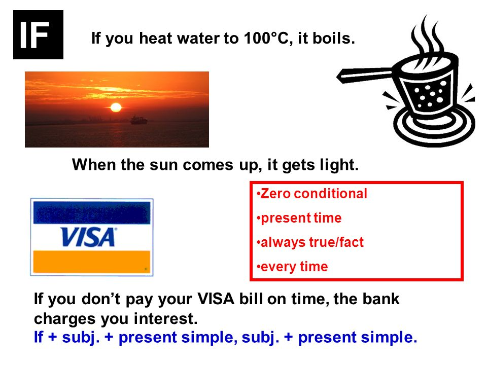 If you heat water to 100°C, it boils. When the sun comes up, it gets light. If you dont pay your VISA bill on time, the bank charges you interest. If