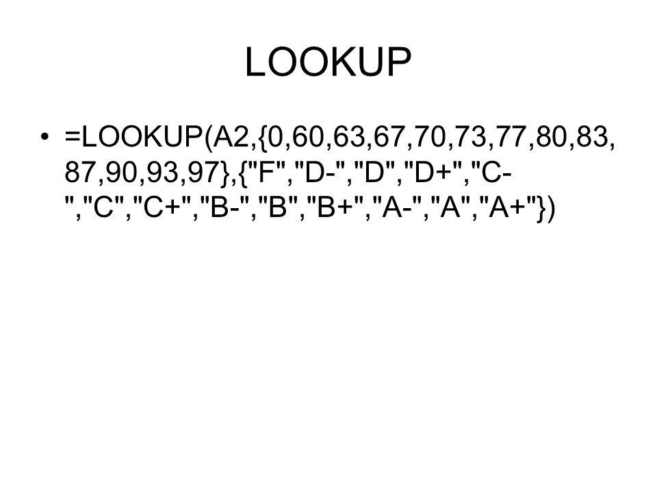 LOOKUP =LOOKUP(A2,{0,60,63,67,70,73,77,80,83, 87,90,93,97},{ F , D- , D , D+ , C- , C , C+ , B- , B , B+ , A- , A , A+ })