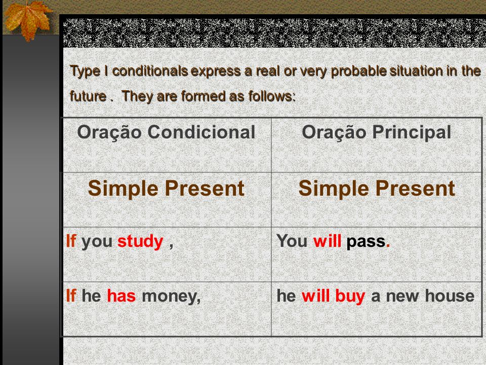 Type I conditionals express a real or very probable situation in the future.